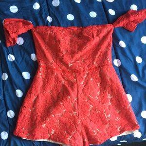 red sequin romper, off the shoulder short sleeves